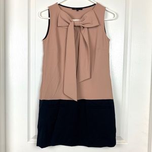 MAJE Bow Neck Colorblock Two-Tone Mod Shift Dress